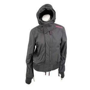 Superdry Windbomber Jacket Womens Small Grey Pink